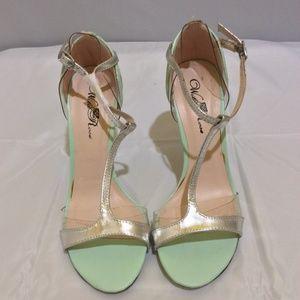 Light Green Platinum  Open Toe Wild Rose Stiletto
